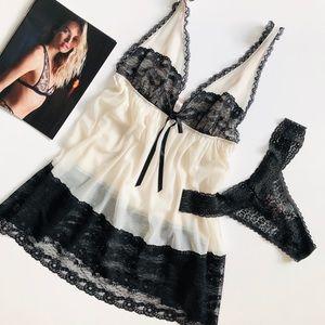 Victoria's Secret off white lingerie set - LARGE